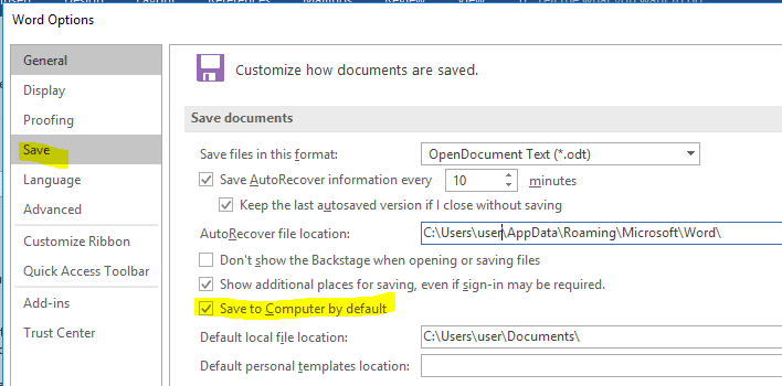 "Microsoft Office setting the default save location to ""This PC"" instead of OneDrive"