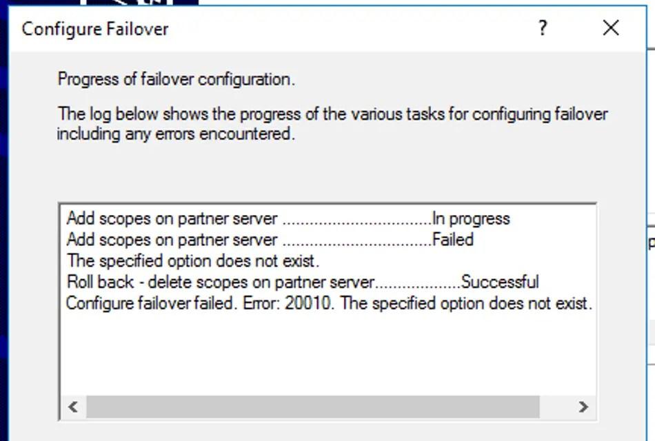 DHCP Failover - Erro 20010 A opção especificada não existe
