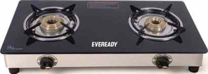 Eveready TGC2B Glass Top Gas Stove, 2 Burner Gas Stove