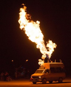 A van with flamethrowers on it!