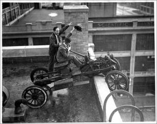 Rare 1926 photo of car placed on Great Dome at MIT
