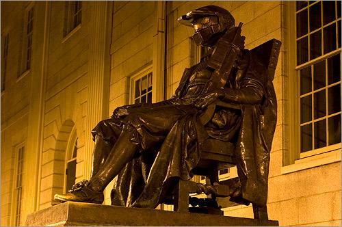 MIT dressed the iconic Harvard statue in Doom gear