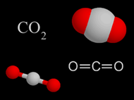 Carbon dioxide CO2 gas molecules