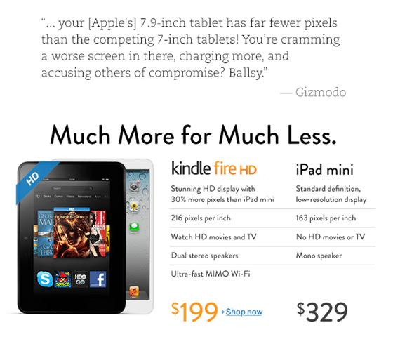 Amazon vs. Apple ad on Amazon's home page