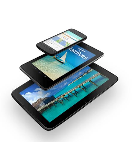 Nexus 4 smartphong alongside Nexus 7 and Nexus 10 devices