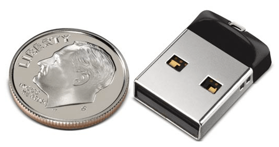 SanDisk Cruzer Fit USB Flash Drive - the size of a dime