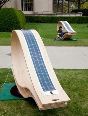 Solar panels on the MIT solar-powered Soft Rocker chair
