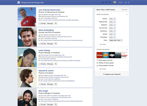 Facebook Graph Search results