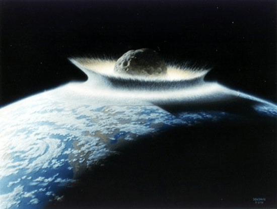 Illustration of huge comet strike on Earth