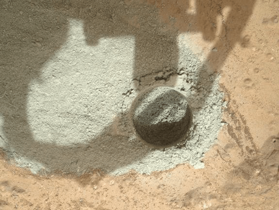 First hole drilled into Mars by Mars Curiosity Rover