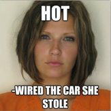 Attractive Convict - Hot - wired the car she stole