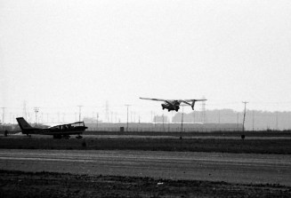 """The AVE Mizar """"Flying Pinto"""" taking off from the airport"""