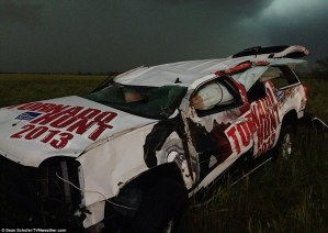 The Weather Channel's automobile was also picked up and tossed about by the deadly tornado