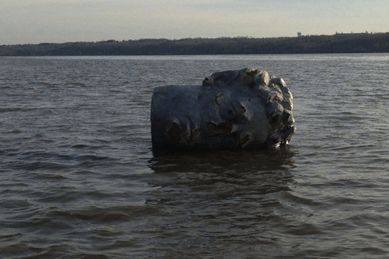 Giant head found floating in New York's Hudson River