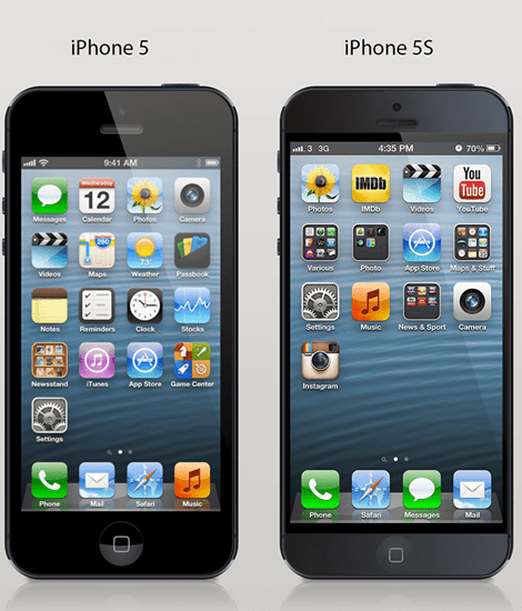 Apple iPhone 5 next to the new iPhone 5S