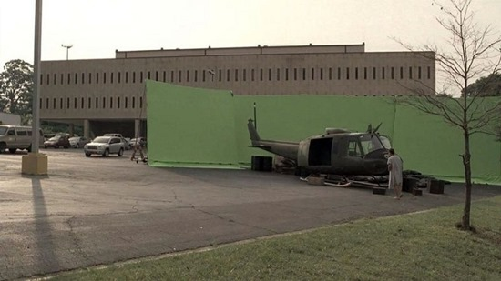 A scene of destruction was nothing more than an empty parking lot