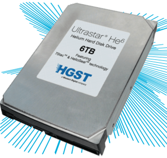 HGST Ultrastar He6 uses HelioSeal technology to allow helium-filled harddrive
