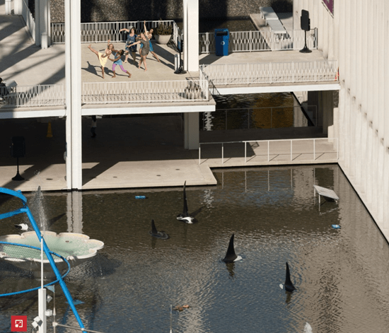Dancers above the shark tank in Microsoft'f Gigapixel Seattle image