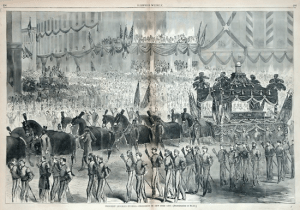 Early illustration of Abraham Lincoln funeral procession