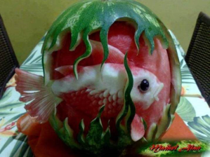 Fishbowl made out of melon