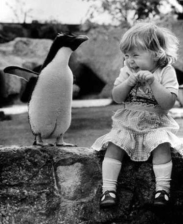 Cute well-timed photo - girl sitting by penguin laughing