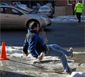 Perfectly timed photo - man falling on ice