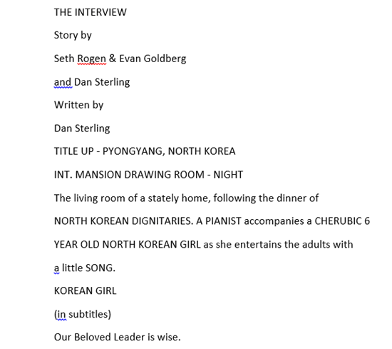 Snippet of purported screenplay for The Interview