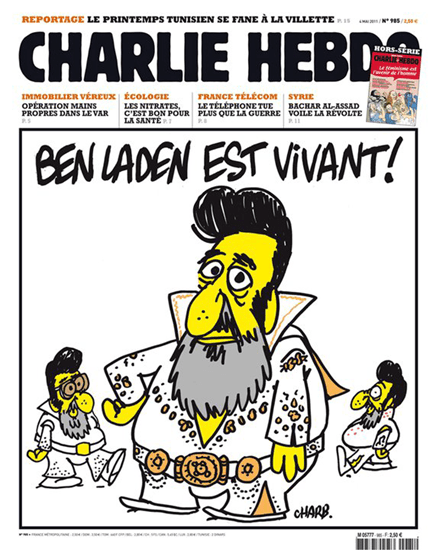 Charlie Hebdo May 2011 cover featuring Bin Laden dressed as Elvis Presley