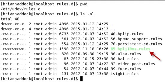 Red Star 3.0 linux has world writable 85-hplj10xx.rules file