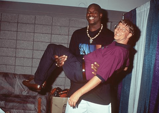 Shaq carrying Bill Gates.