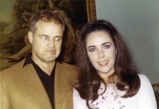A young Marlon Brando photobombing a young Elizabeth Taylor.