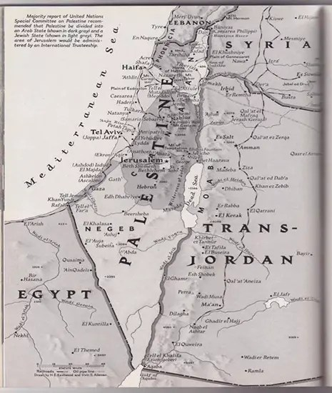 Palestine in a 1947 National Geographic map