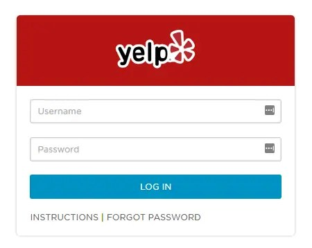 Yelp's employee login page