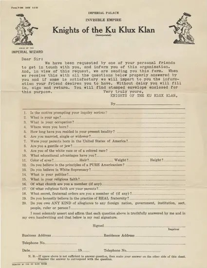 Original Knights of the Ku Klux Klan (KKK) application (1921)