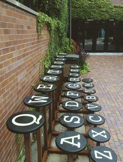 Typewriter key park bench.