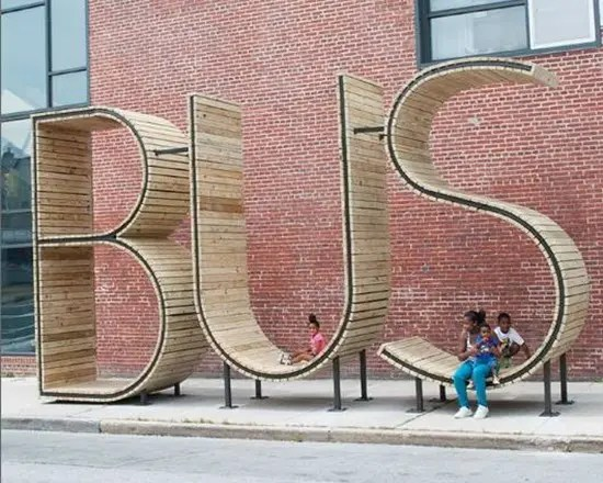 Bus stop park benches in Baltimore, Maryland.