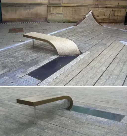 Curled benches outside of Laing Art Gallery, Newcastle, England.