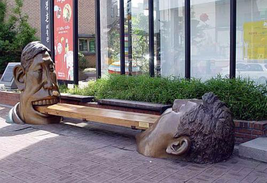 Two head park bench in Seoul, South Korea.