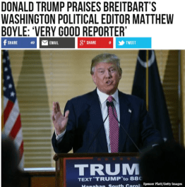 "Real Breitbart headling: Donald Trump praises Breitbart's Washington political editor Matt Boyle: ""Very good reporter"""