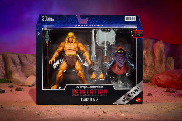 Masters of the Universe Revelation Savage He-Man with Orko - in box