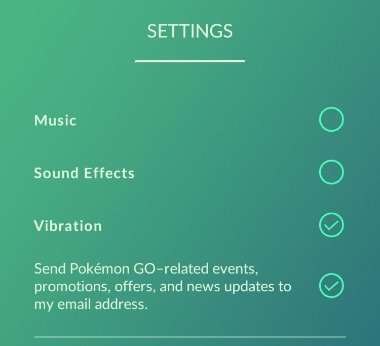 Pokémon Go Settings