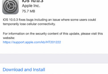 Apple iOS 10.0.3 update