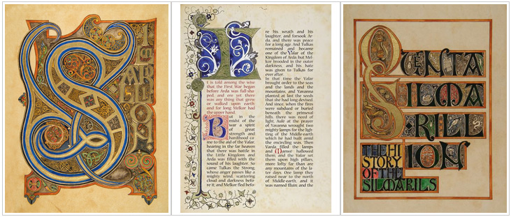 Pages from an illuminated edition of Tolkien's Silmarilion