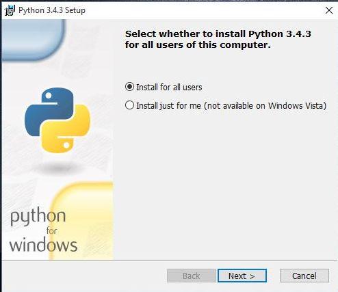 Installing Python in windows 10