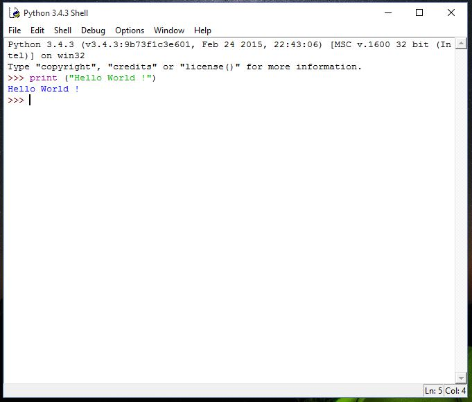 Python first program hello world