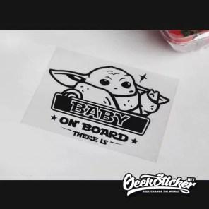 "Baby Yoda ""Baby on Board"" Car Decals sticker Vinyl waterproof reflective Die-cut Cartoon decal sticker to Apply to the Car, Truck, Van Window or Body black/silver white-7"