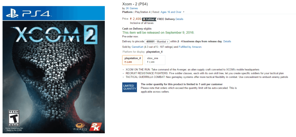 Amazon XCOM 2 PS4 Xbox One