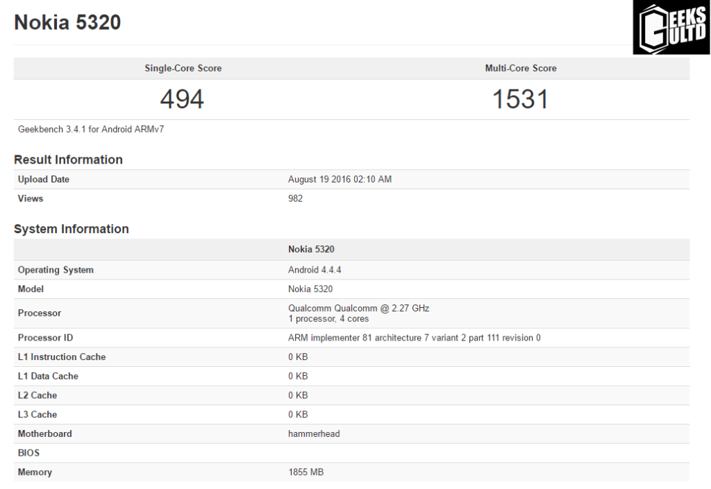Nokia 5320 and Nokia RM-1490 Spotted on Geekbench