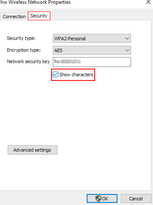 Wireless Network Properties in windows 10